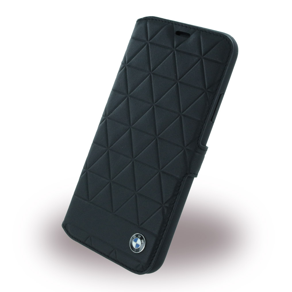 BMW - Signature Hexagon - Leder Book Cover - Apple iPhone X - Schwarz